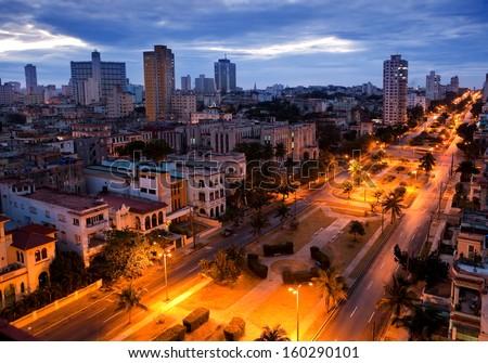 Cuba. Night Havana. The top view on the avenue Presidents.  - stock photo
