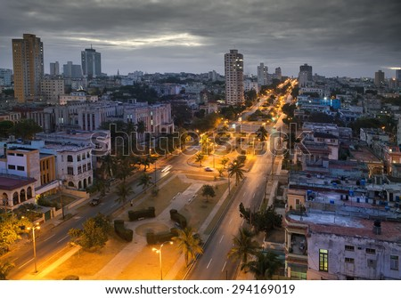 Cuba. Night Havana. The top view on the avenue Presidents.