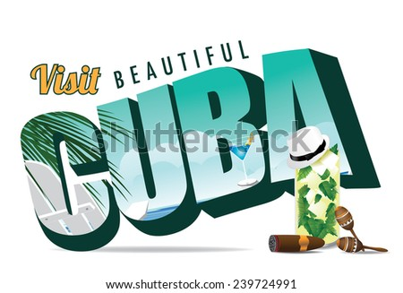 Cuba retro postcard typography stock illustration - stock photo