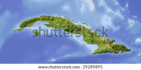 Cuba. Shaded relief map. Surrounding territory greyed out. Colored according to vegetation. Includes clip path for the state area.
