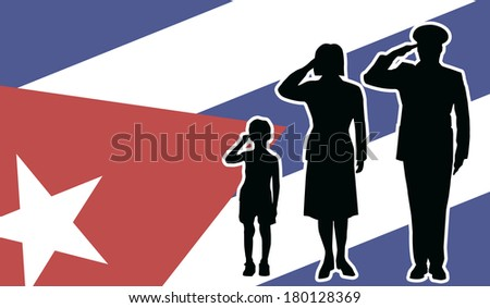 Cuba soldier family salute - stock photo