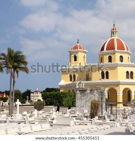 Cuba - the main cemetery of Havana. Necropolis Cristobal Colon. - stock photo
