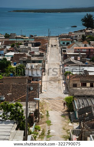 Cuba traditional colonial village of Gibara in Holguin province, hill top view - stock photo