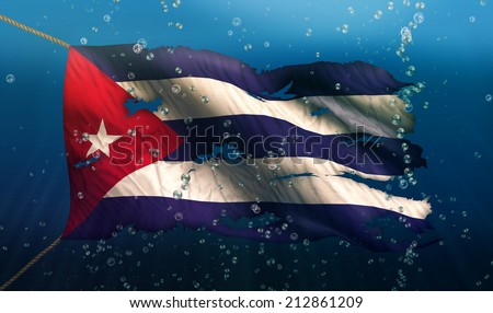 Cuba Under Water Sea Flag National Torn Bubble 3D - stock photo