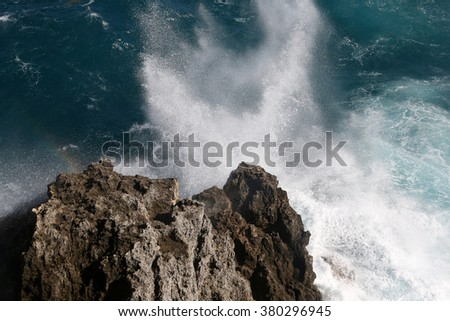 Cuba, Varadero, huge wave at the cliff - stock photo