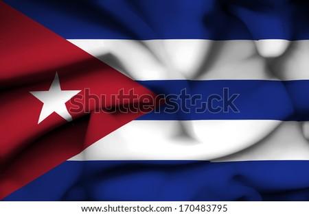 Cuba waving flag - stock photo