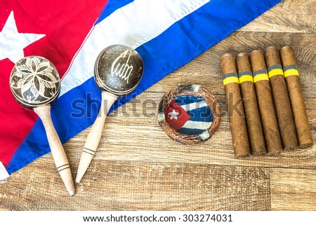 Cuban concept table of some related items - stock photo