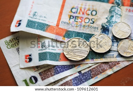 Cuban Convertible Peso notes and coins used by tourists - stock photo