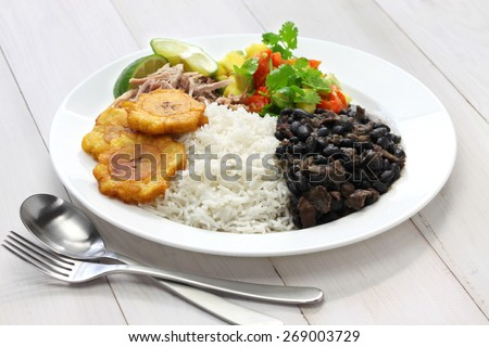 cuban cuisine, arroz con frijoles negros - stock photo