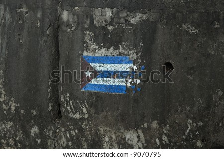 Cuban flag in grunge background - stock photo