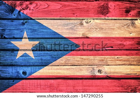 Cuban flag on the old wooden background  - stock photo