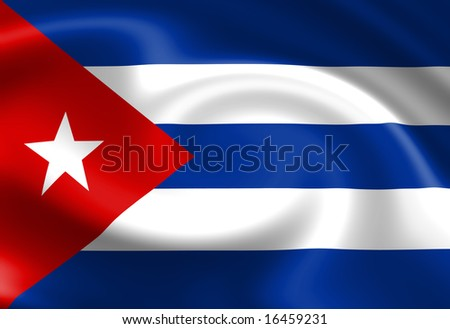 Cuban flag waving in the wind
