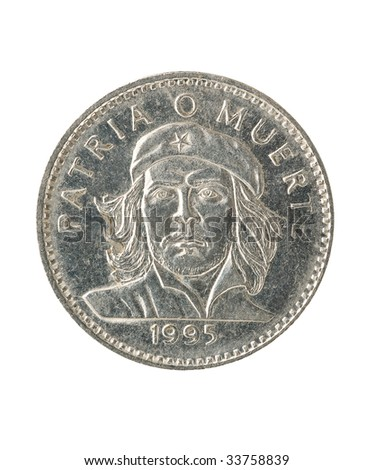 Cuban peso coin with portrait of ernesto che guevara, white background, clipping path.