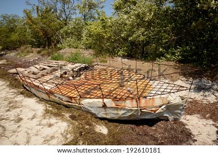 Cuban refugee raft off the coast of Florida - stock photo