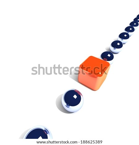 Cube and balls. 3D render. Concept - the best. - stock photo