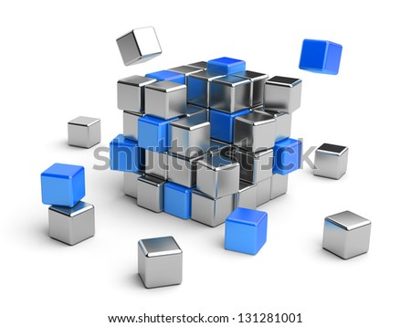 Cube assembling from blocks. 3D Illustration isolated on white - stock photo