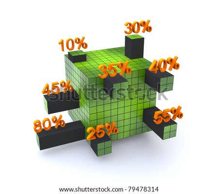Cube bar graph - stock photo
