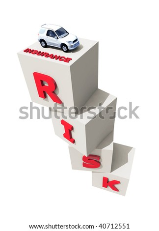 Cube block combined a risk word in a row with a risky composition 3d illustration, car insurance concept - stock photo