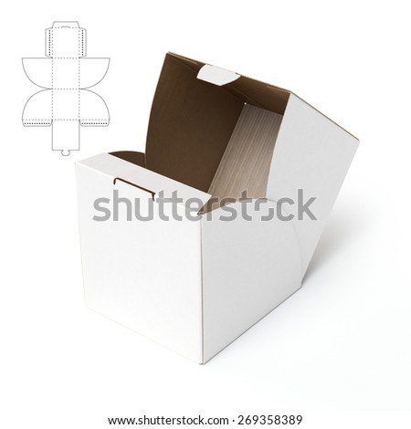 Cube Box with Die Cut Template - stock photo