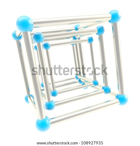 Cube carcass framework composition made of chrome metal and blue plastic one inside another as abstract scientific background - stock photo