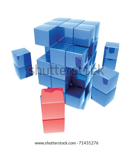 Cube concept isolated on white background.