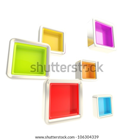 Cube copyspace colorful shelves isolated on white as abstract background - stock photo