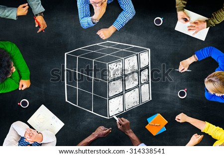Cube Cubic Puzzle Solution Solving Problem Concept - stock photo