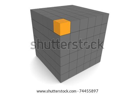 Cube, dark Gray and with one orange Block - stock photo