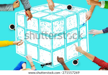 Cube Dice Dimension Logic Mind Thinking Concept - stock photo