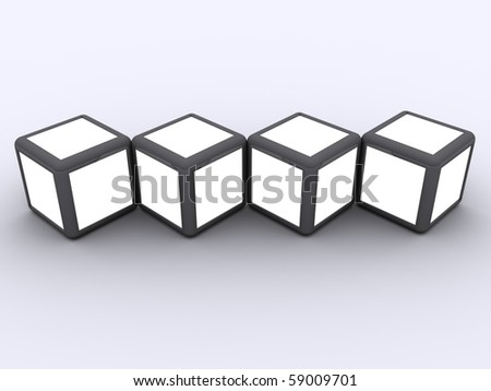Cube display photo frame concept select white alpha to display image in white space - stock photo