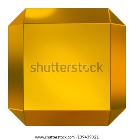 cube golden - stock photo