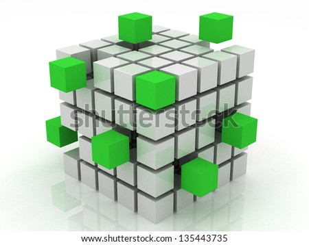 cube green assembling from blocks on a white background