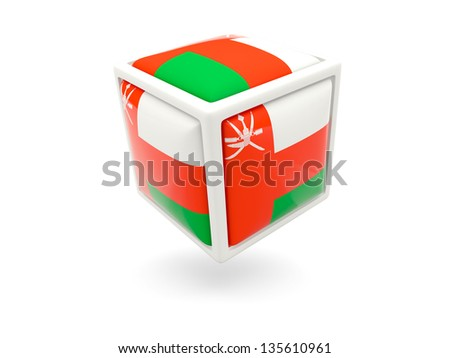 Cube icon of flag of oman isolated on white