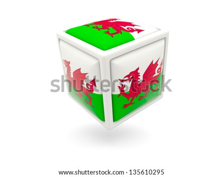 Cube icon of flag of wales isolated on white