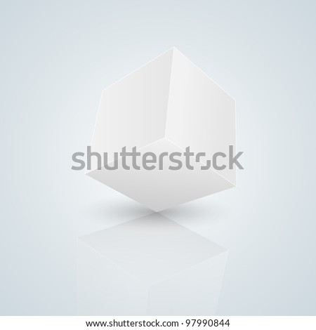 cube isolated on blue - stock photo