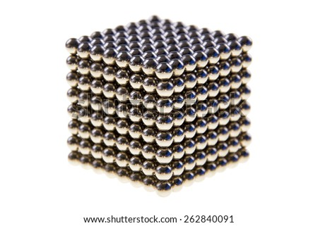 Cube made of  magnetic beads