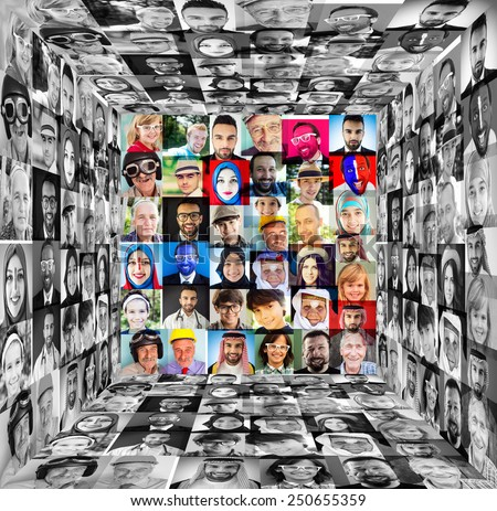 Cube of people faces collage - stock photo