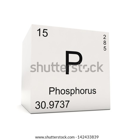 Cube of Phosphorus - element of the periodic table isolated on white background - stock photo