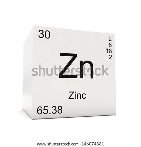 Cube Zinc Element Periodic Table Isolated Stock Illustration