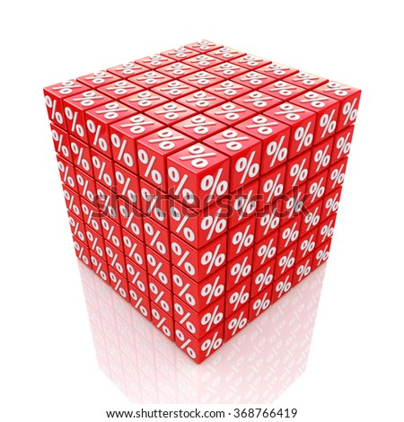 cube percent in the design of information related to trade and business - stock photo