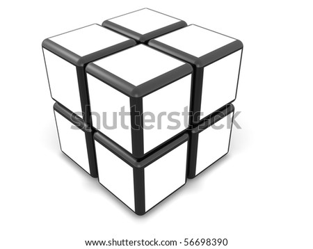 Cube photo frame display image in white space select white alpha to add your photo - stock photo