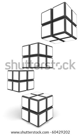 Cube photo frame display image in white space with clipping path - stock photo