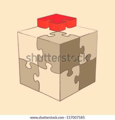 Cube Puzzle. Retro Style. Sketch. Raster version - stock photo