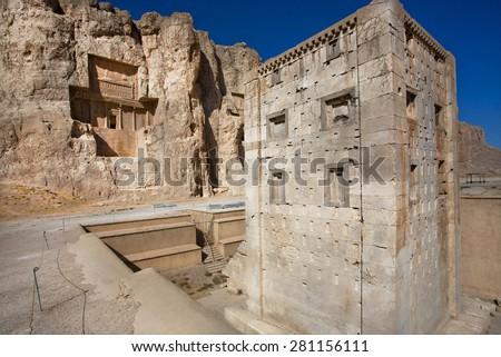 Cube shaped construction Ka'ba-ye Zartosht (Cube of Zoroaster), 5th century B.C. Achaemenid-era tower, an archaeological site just northwest of Persepolis, Iran. - stock photo