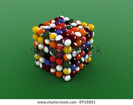 cube shaped  pool balls. close up billiard balls. - stock photo