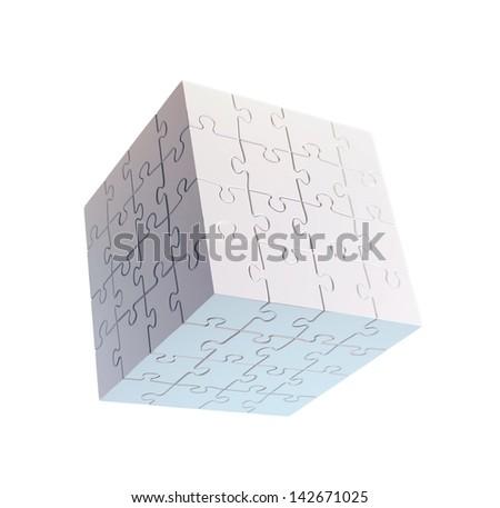 Cube shaped puzzle - stock photo