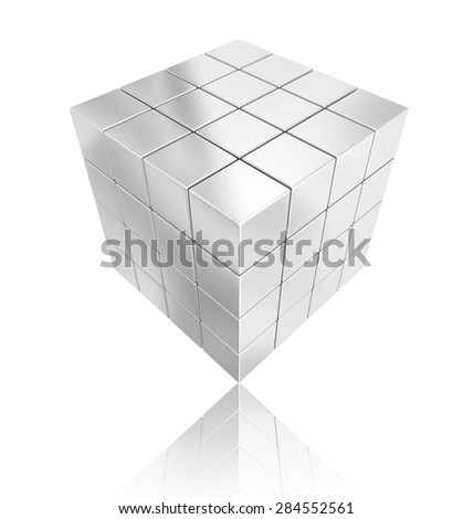 cube silver geometry abstract background - stock photo