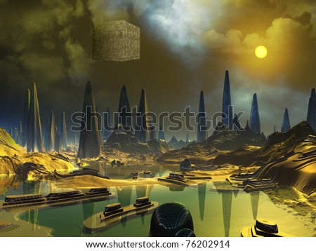 Cube Space Craft over Alien Water World - stock photo