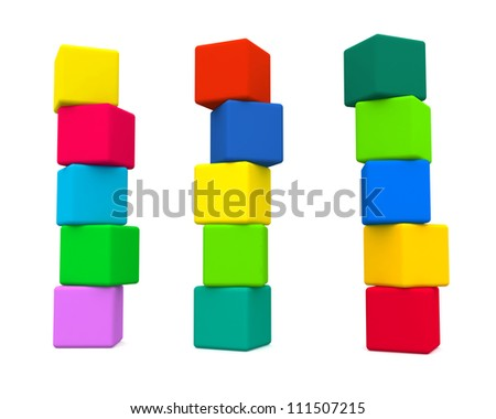 cube towers isolated - stock photo