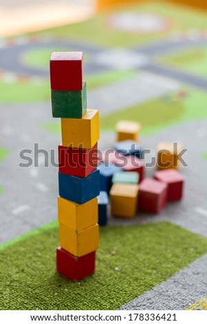 cube towers toy - stock photo